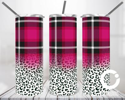 Pink Plaid Cheetah - 20oz Tumbler Digital Download