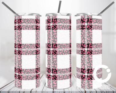 White Pink Plaid Cheetah - 20oz Tumbler Digital Download