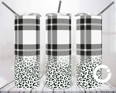White Plaid Cheetah - 20oz Tumbler Digital Download