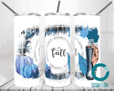 Blue Fall Blue Pumpkins Blue Plaid - 20oz Tumbler Digital Download
