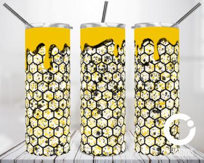 Honey Comb Splatter Drip 20oz Tumbler