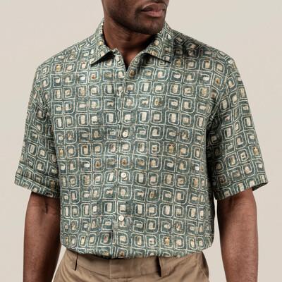 Eton Block Print Linen Resort Shirt