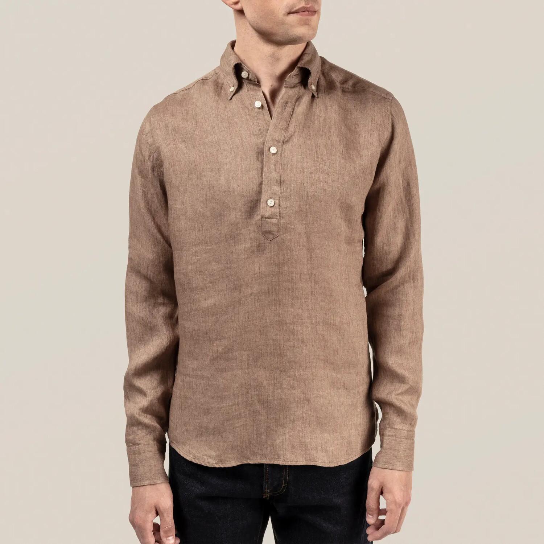 Eton Luxe Linen Popover Shirt (Beige)