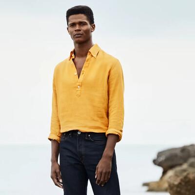 Eton yellow luxe linen popover shirt