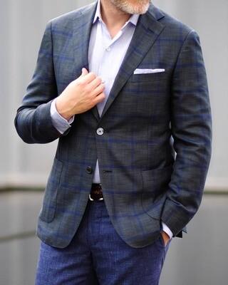 Samuelsohn Ice Wool & Silk Windowpane Jacket
