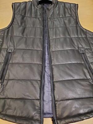 Torras black leather reversible vest to navy
