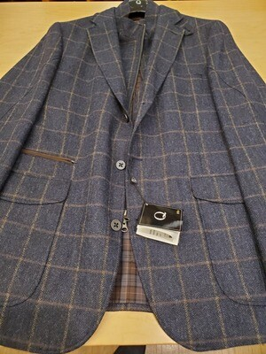 Q by Flynt Hybrid Blue Check Wool Blazer/Outerwear