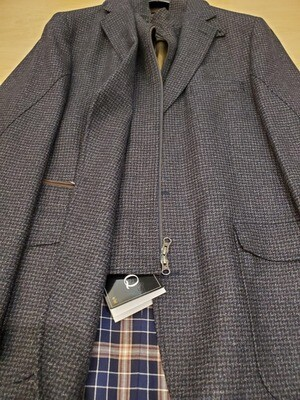 Q by Flynt Hybrid Gray Hounds-tooth Wool Blazer/Outerwear