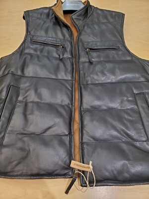 Missani black/ brown Leather reversible vest to 100% cashmere