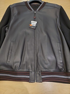 Torras Black leather baseball jacket reversible to wool check