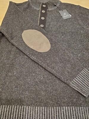 Raffi black 1/4 buttom up wool/cashmere sweater