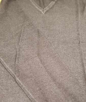 Raffi Charcoal V neck light weight merino wool sweater