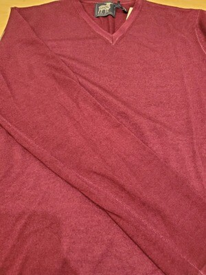 Raffi Bordeaux V neck light weight merino wool sweater