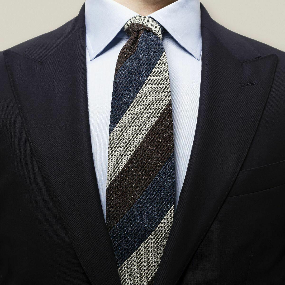 Eton Navy geometric silk tie