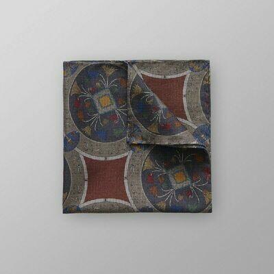 Eton Grey & Orange Ancient Print Pocket Square