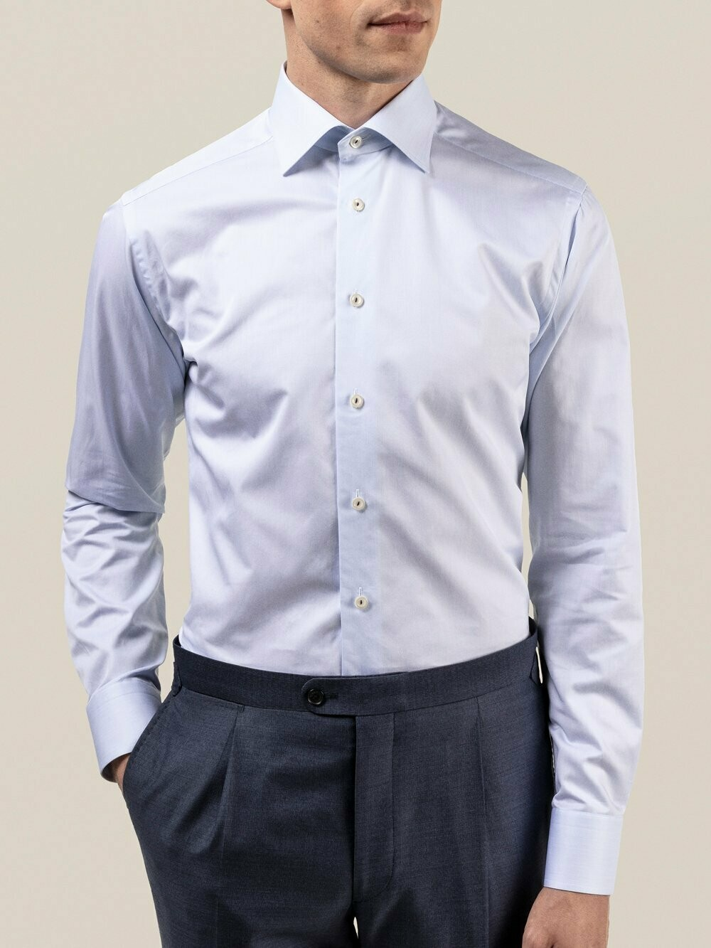 Eton light blue royal twill contemporary fit shirt