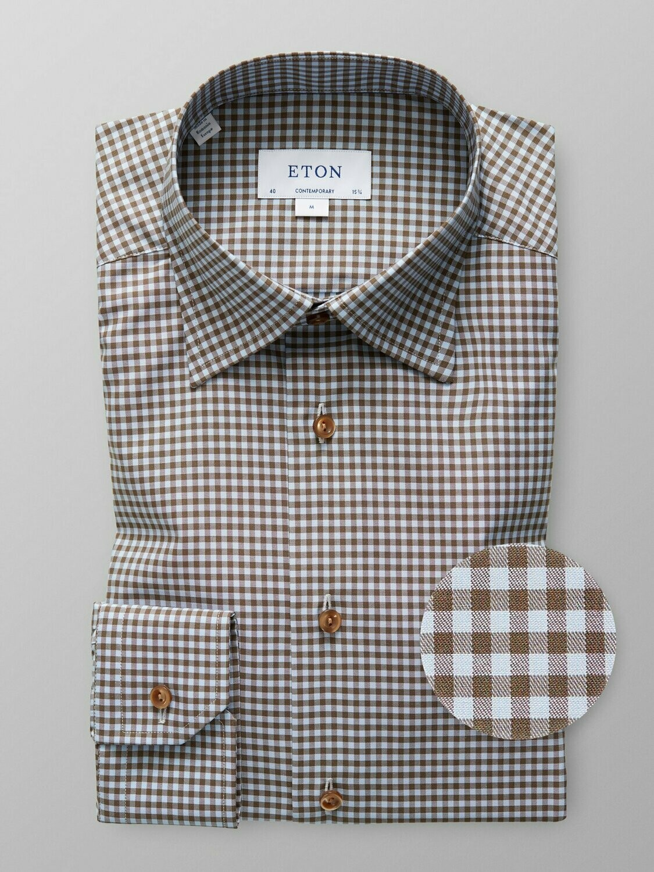 Eton Sky Blue & Brown Gingham Checked Twill Shirt