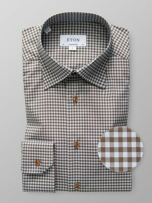 Eton Sky Blue & Brown Gingham Checked Twill Shirt
