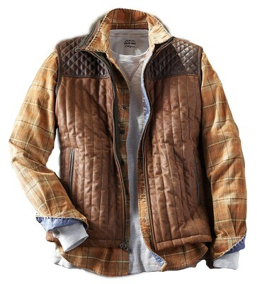 Q by Flynt Herringbone Quilted Suede Vest