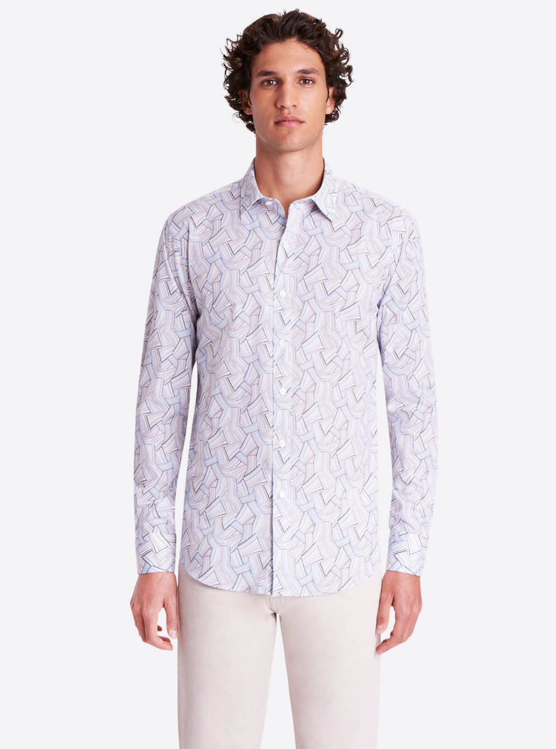 Bugatchi LS Basketweave Printed Shaped Fit COMFORT STRETCH Shirt