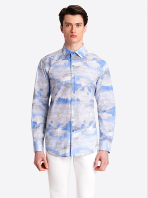 Bugatchi LS Watercolor Sky printed COMFORT STRETCH Shirt