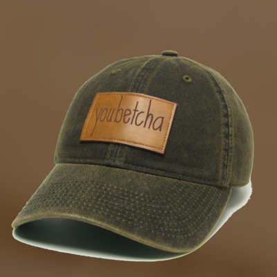 """youbetcha"" Leather Patch Snapback Hat"