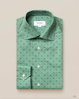 Eton Green Double-Monogram Shirt