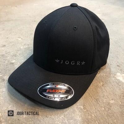 JOGR Tactical FlexFit Hat (Black) S/M
