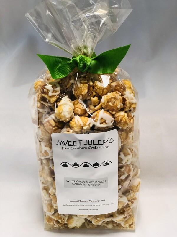 White Chocolate Drizzled Caramel Popcorn