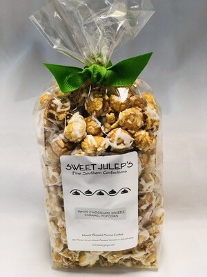 White Chocolate Drizzled Caramel Popcorn
