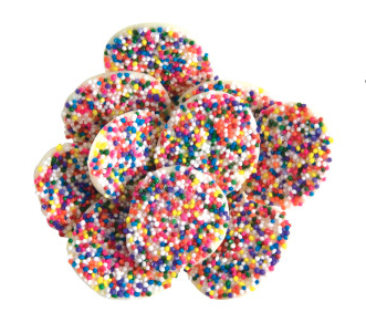 White Chocolate Nonpareils with Rainbow Seeds