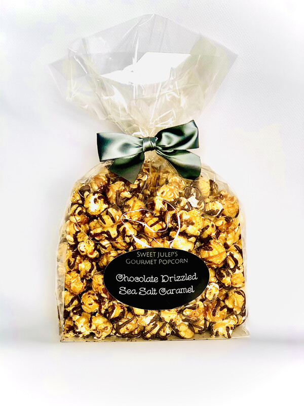 Chocolate Drizzled Sea Salt Caramel Popcorn