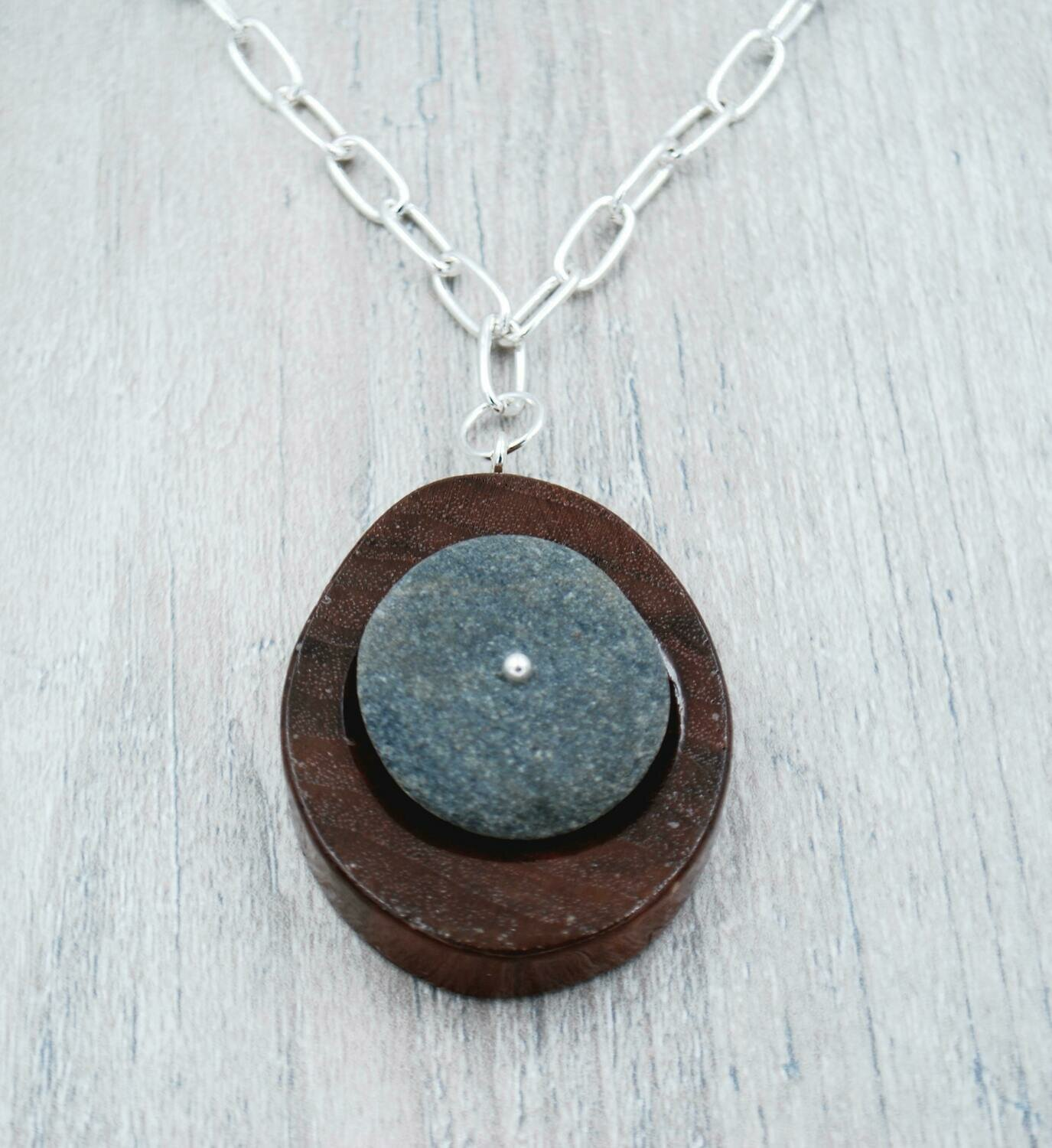 Walnut Wood and Lake Erie Beach Pebble Necklace