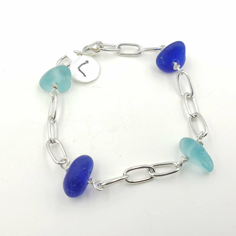 Dark and Light Blue Lake Erie Beach Glass Chain Bracelet