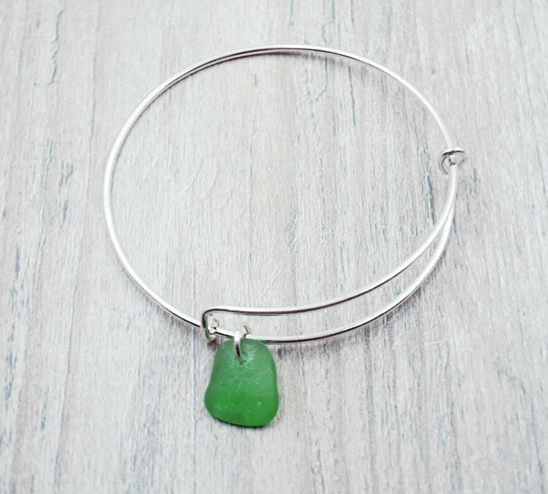 Bangle Bracelet with Green Lake Erie Beach Glass