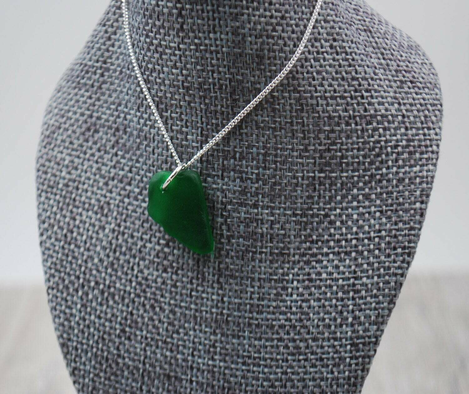 Dark Green Maine Sea Glass Necklace