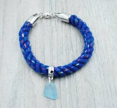 Blue Glitter Nautical Rope Bracelet with Light Blue Maine Sea Glass