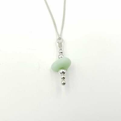 Jadeite Lake Erie Beach Glass Stack Necklace