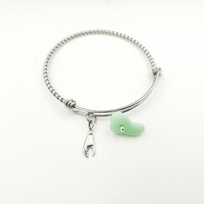Bangle Bracelet with Crab/Lobster Claw Charm and Jadeite Lake Erie Beach Glass