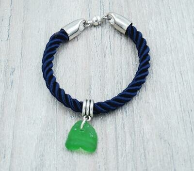 Navy Blue Nautical Rope Bracelet with Green Lake Erie Beach Glass