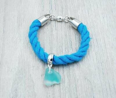 Light Blue Nautical Rope Bracelet with Light Blue Maine Sea Glass