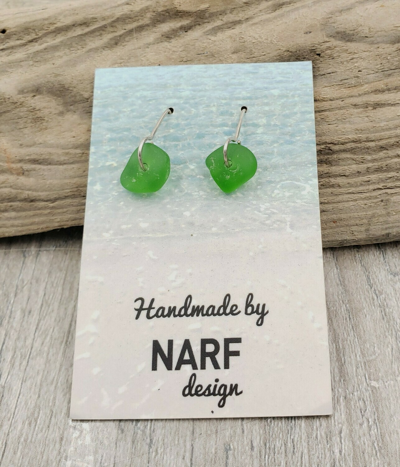 Kelly Green Lake Erie Beach Glass Earrings with Half Circle Earwires