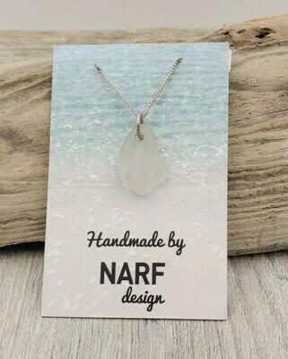White Maine Sea Glass Necklace