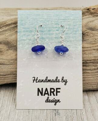 Cobalt Blue Lake Erie Beach Glass Earrings