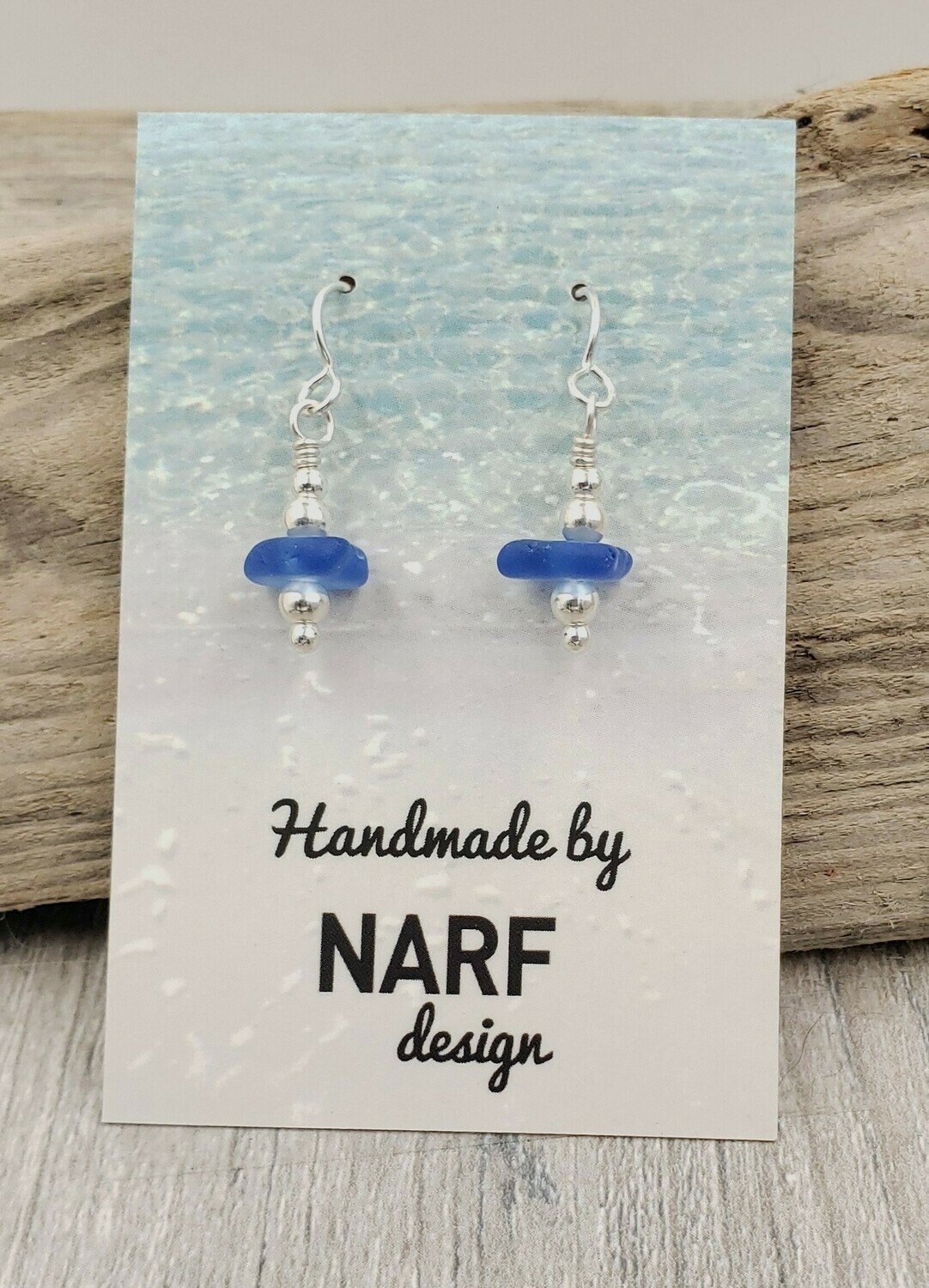 Cerulean Blue Lake Erie Beach Glass Earrings