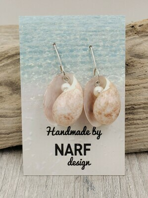 Atlantic Bubble Shell Earrings with Freshwater Pearls