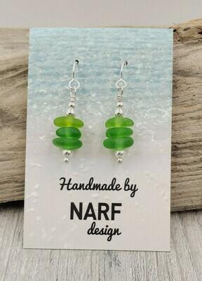 Kelly Green Lake Erie Beach Glass Stack Earrings