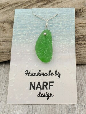 Kelly Green Lake Erie Beach Glass Necklace