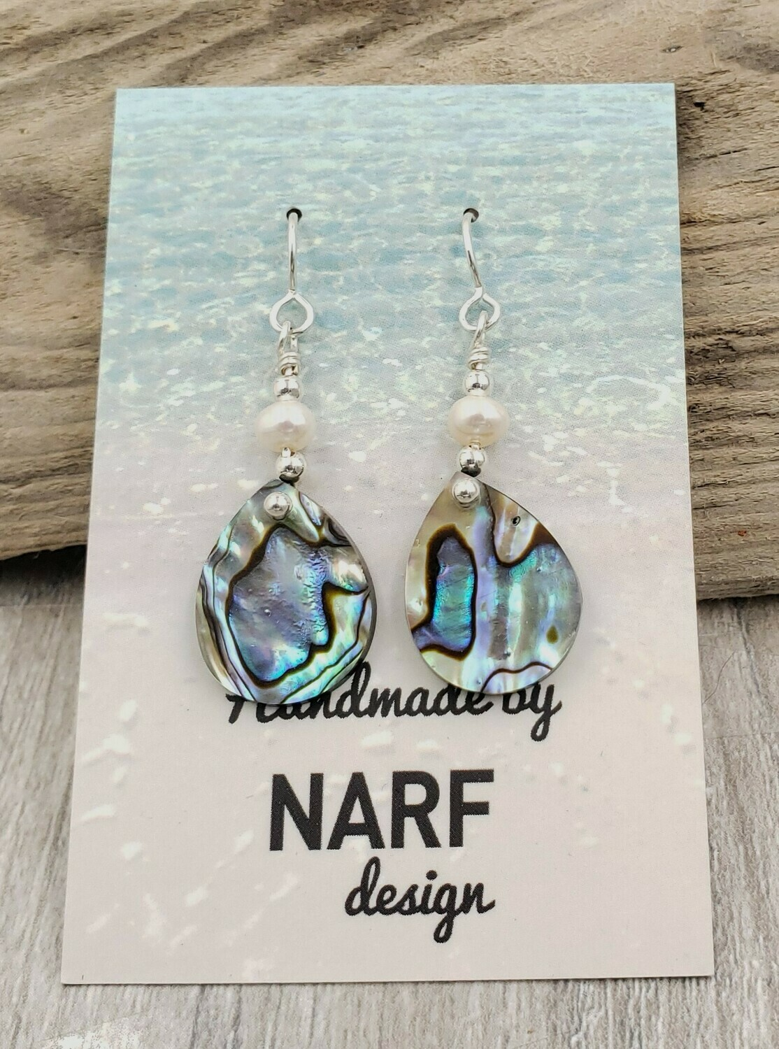 Abalone Shell Teardrop Earrings with Freshwater Pearls