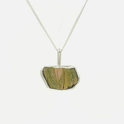Green and Gold Lake Erie Beach Glass Tile Necklace Bezel Set in Sterling Silver